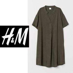 H+M V-Neck Dress | US 6P | Olive Green